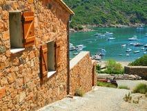 Houses of Girolata. Landscape of Girolata port and houses Royalty Free Stock Photos