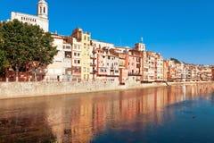 Houses of Girona reflecting in Onyar River Stock Photos