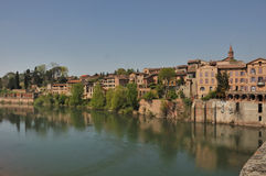 Houses giving onto the river. A populated bank of the tarn,albi(france royalty free stock photography