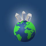 Houses on globe. Houses on planet Earth. Colored vector illustration stock illustration