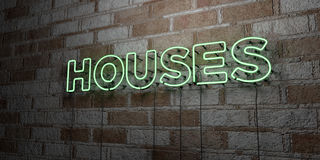 HOUSES - Glowing Neon Sign on stonework wall - 3D rendered royalty free stock illustration Royalty Free Stock Photos