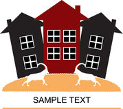 Houses and goats. Postcard design. Simple vector illustration Royalty Free Stock Photo
