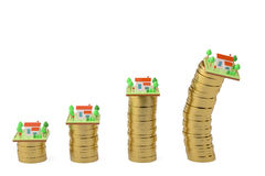 Houses and gold coins.3D illustration. Stock Photography