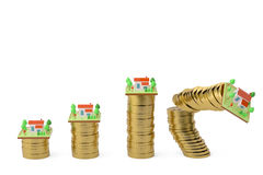 Houses and gold coins.3D illustration. Houses and gold coins 3D illustration Royalty Free Stock Photography