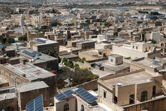 Malta and Gozo 2018. Houses of Gozo, cityscape from above with anrrow streets Stock Image