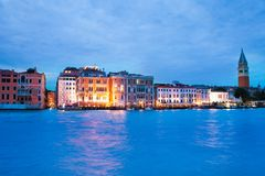 Houses on Grand canal in evening Royalty Free Stock Images