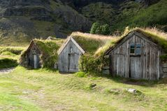 Houses with grass on the roof Royalty Free Stock Images