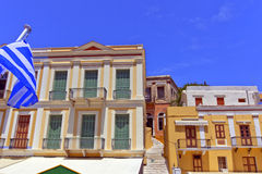 Houses on a Greek island of Symi. Royalty Free Stock Images