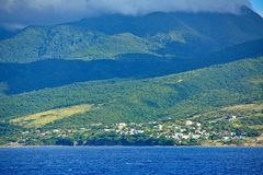 Houses on Green Hills of St Kitts royalty free stock photos
