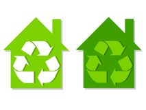 Houses Green Recycle Symbols Royalty Free Stock Images