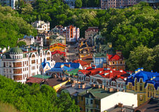 Houses among the green trees Kiev Ukraine Stock Photography