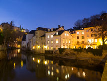 Houses in Grund, Luxembourg City, At Night. Houses At River Alzette in Grund, Luxembourg City At Night Royalty Free Stock Image