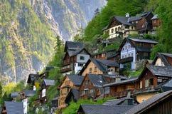 Houses in Hallstatt, Austria. Wooden houses in Hallstatt, pearl of Austrian Alps royalty free stock images