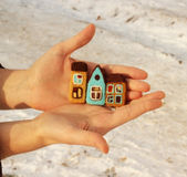 Houses in hands. Houses in girl hand  on snow background Stock Images