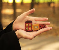 Houses in hands. Two little houses in hands Royalty Free Stock Photos