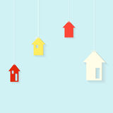 Houses hanging on threads Stock Images