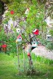 Houses hanging tree, symbol of genealogy, dwelling, connecting a. Nd bonding royalty free stock photos