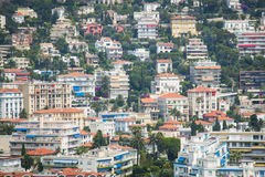 Houses in the harbor with boats in Nice, France Stock Images