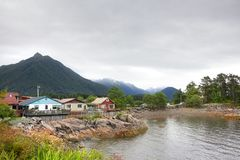 Houses at Harbor Drive, Sitka , Alaska. Scenery view of local houses close to the O`Connell bridge and Harbor Drive road at Sitka, Alaska Royalty Free Stock Image