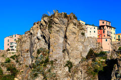Houses High on the Cliff in Corniglia, Cinque Ter Royalty Free Stock Image
