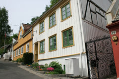 Houses on a hill. Old wooden houses on a hill in Oslo, Norway royalty free stock images