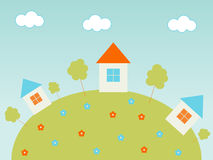 Houses on the hill. Colorful houses on the hill Stock Illustration