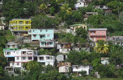 Houses on the hill. Brightly painted houses in Dominica Stock Photography