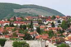 Houses on the hill above Eger Royalty Free Stock Images