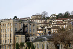 Houses on the hill, Bradford on Avon, UK. View of houses in town on hill at Bradford on Avon. United Kingdom Stock Photos