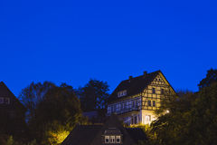 Houses on a hill, Monschau Royalty Free Stock Images
