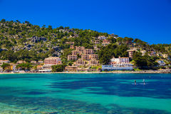 Houses on the hill in Port de Soller Royalty Free Stock Images