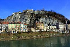 Houses on a hill and river , Grenoble, France Royalty Free Stock Image