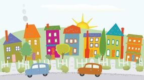 Houses on a hill. Stylized neighborhood houses on a hill, two cars, sunshine, trees royalty free illustration