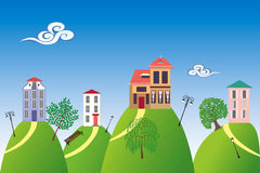 Houses on the hills Royalty Free Stock Image