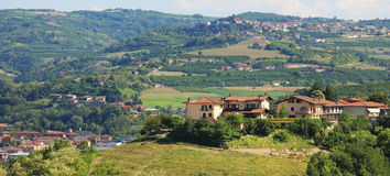 Houses on the hills of Piedmont, northern Italy. Stock Image