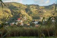 Houses on the hillside in Gran Canaria. Colorful houses village on the hillside in Gran Canaria Royalty Free Stock Images