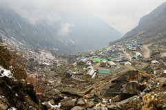 Houses on Himalayan valley Stock Image