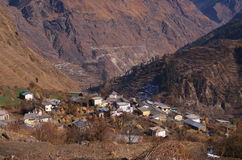 Houses in Himalayan Valley Royalty Free Stock Images
