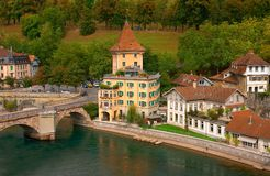 Houses in the historical center of Bern. Houses on the river Aare in the historical center of Bern, Switzerland Stock Images