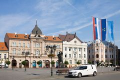 The historical center of Novi Sad city. The houses in the historical center of Novi Sad city at the Square of Liberty. Novi Sad is the second largest city in stock images