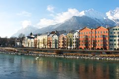 Houses in the historical city Innsbruck in Tirol Stock Images