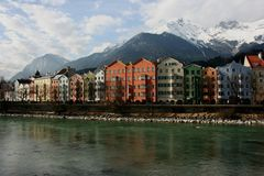 Houses in the historical city Innsbruck in Tirol royalty free stock images