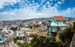 Houses of historical shell in Valparaiso, Chile Royalty Free Stock Photo