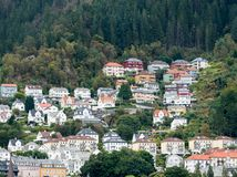 Houses line the dockside in Bergen Royalty Free Stock Image