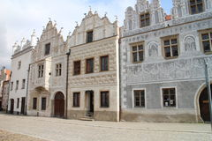 Houses on Horní náměstí square in Slavonice Royalty Free Stock Photos