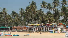 Houses and huts on the Palolem beach stock video footage