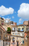Houses in Ibla, Italy. View of typical street in Ibla, Sicily Royalty Free Stock Images