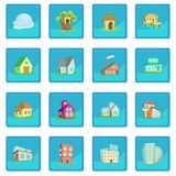 Houses icon blue app Royalty Free Stock Images