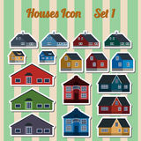 Houses icon set.  Elements for creating your perfect city. Colou Stock Photo