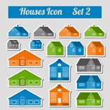 Houses icon set.  Elements for creating your perfect city. Colou Royalty Free Stock Photo